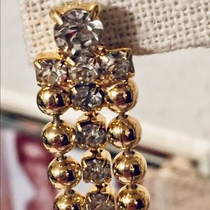 Jewelry - Rhinestones and gold tone fancy earrings
